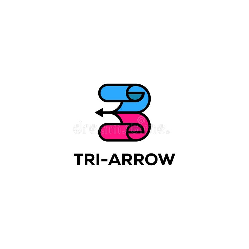 Tres diseños del logotipo de la flecha, inspiraciones creativas ilustración del vector