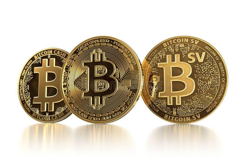 Tres diversas monedas de Bitcoin después de bifurcaciones Bitcoin BTC que hace frente a concepto del efectivo BCH de Bitcoin y de fotografía de archivo