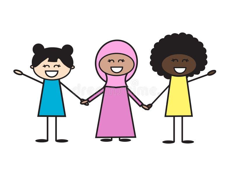 Tres diversas muchachas en un fondo blanco Ilustración del vector stock de ilustración