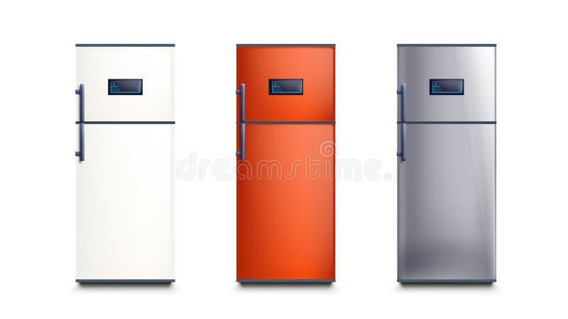 Tres diversos refrigeradores del color stock de ilustración