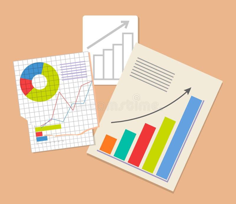 Tres documentos del Analytics, ejemplo colorido ilustración del vector