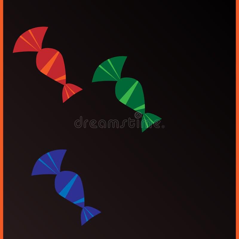 Tres dulces con un aislante abstracto del modelo stock de ilustración