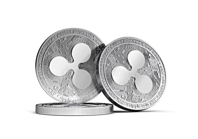 Tres el concepto de plata de las monedas XRP de la ondulación apiló junto aislado en blanco ilustración del vector
