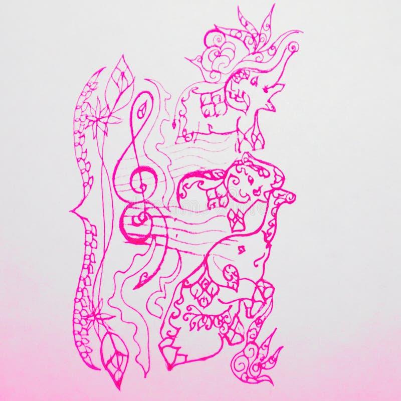 Tres elefantes tailandeses preciosos en un símbolo maravilloso del personal grande/magnífico de la música con los elefantes en ve stock de ilustración