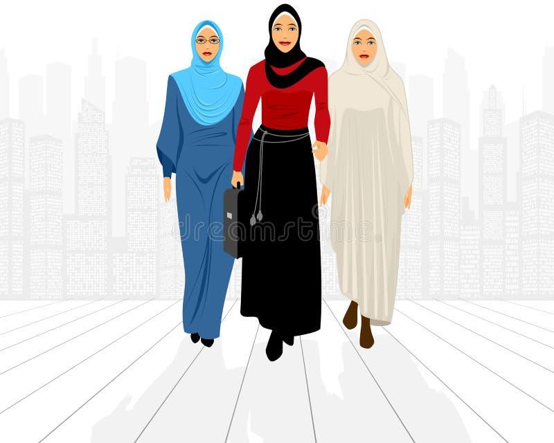 Tres empresarias en ciudad libre illustration