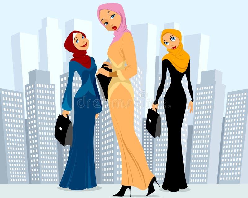Tres empresarias en ciudad stock de ilustración