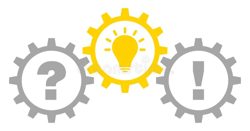 Tres engranajes gráficos preguntan la idea y la respuesta Gray Yellow Outline libre illustration