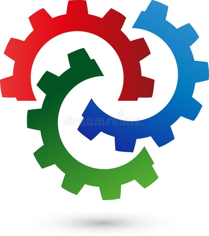 Tres engranajes, herramientas y logotipos del cerrajero stock de ilustración