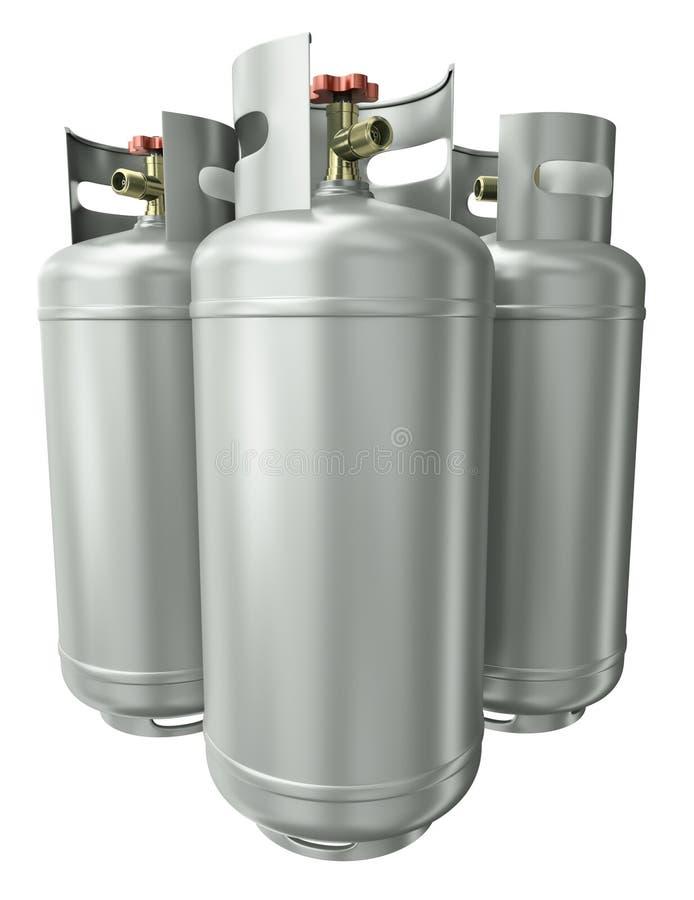 Tres envases del gas stock de ilustración