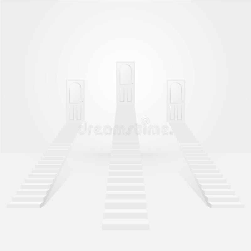 Tres escaleras blancas hasta las puertas stock de ilustración