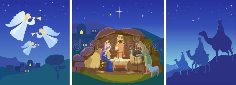 Tres escenas de la Navidad Vector ilustración del vector