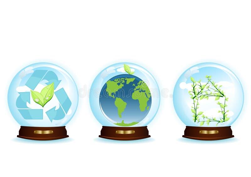 Tres esferas azules ilustración del vector