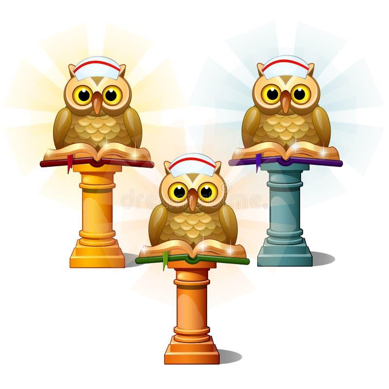 Tres estatuas de búhos con los libros en pedestales, aisladas en el fondo blanco Ejemplo del primer del vector de la historieta ilustración del vector