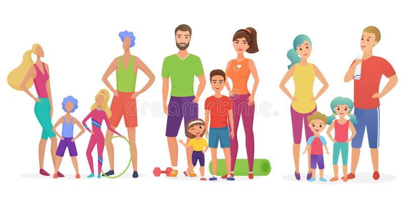 Tres estilos de los ejemplos del vector de familias aptas felices durante el entrenamiento en el ejemplo del vector del gimnasio libre illustration