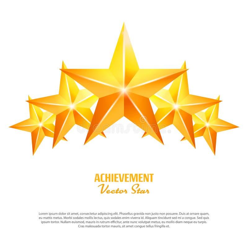 Tres estrellas del vector del logro Muestra amarilla Símbolo de oro de la decoración icono del brillo 3d aislado en el fondo blan stock de ilustración
