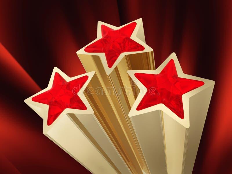Tres estrellas rojas stock de ilustración