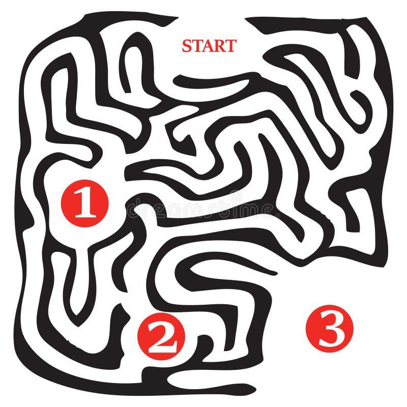 Tres etapas del paso del laberinto stock de ilustración