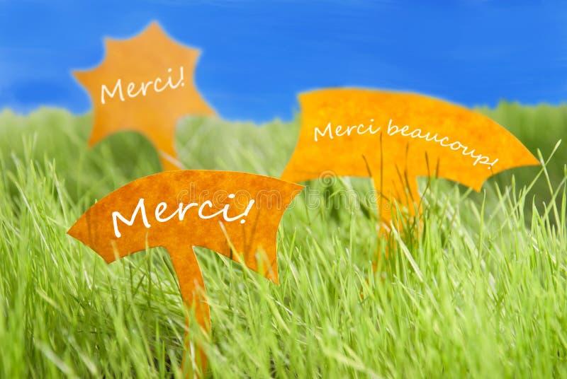 Tres etiquetas con el francés Merci que los medios agradecen le y el cielo azul fotografía de archivo libre de regalías