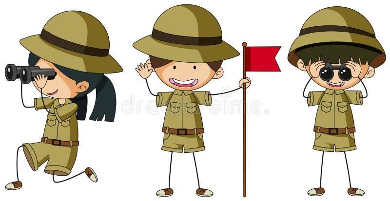 Tres exploradores en diversas acciones ilustración del vector