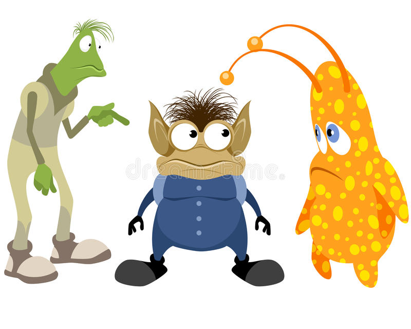Tres extranjeros fijados stock de ilustración