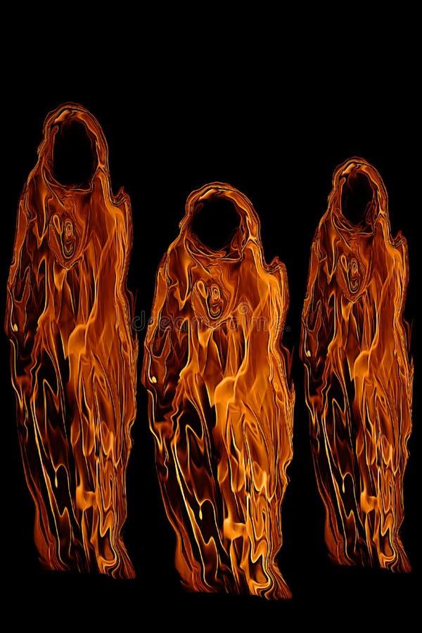 Tres fantasmas o espíritus necrófagos anaranjados de Víspera de Todos los Santos ilustración del vector