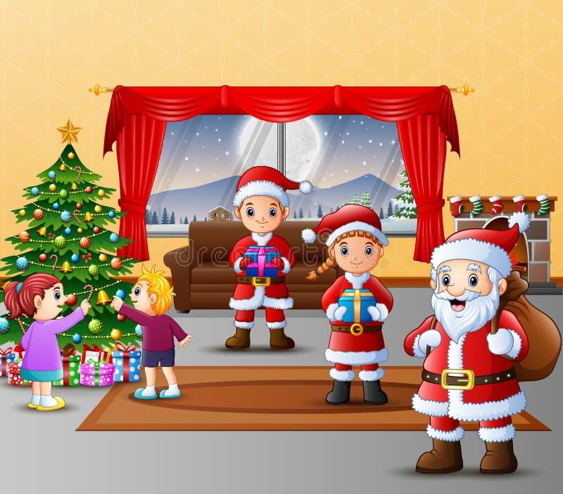 Tres felices Papá Noel con los niños que adornan el árbol de navidad ilustración del vector