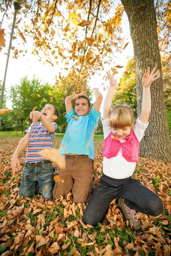 Tres felices y hojas que lanzan sonrientes del niño en parque foto de archivo