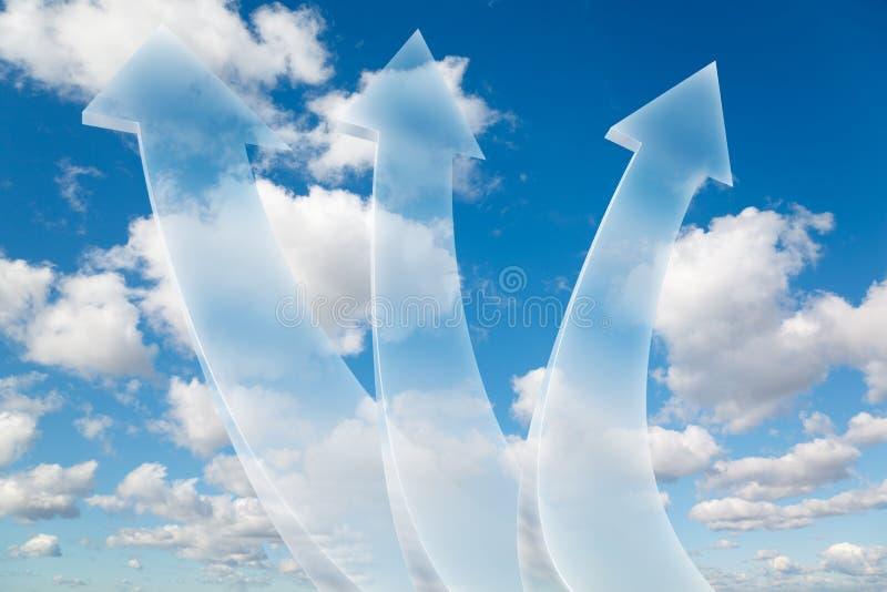 Tres flechas en el collage del cielo foto de archivo