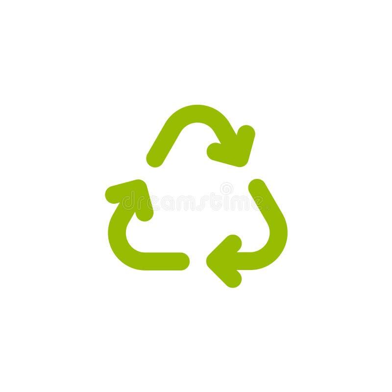 Tres flechas verdes con el eco recicla el icono muestra del eco aislada en blanco Ejemplo de la reutilización del vector stock de ilustración
