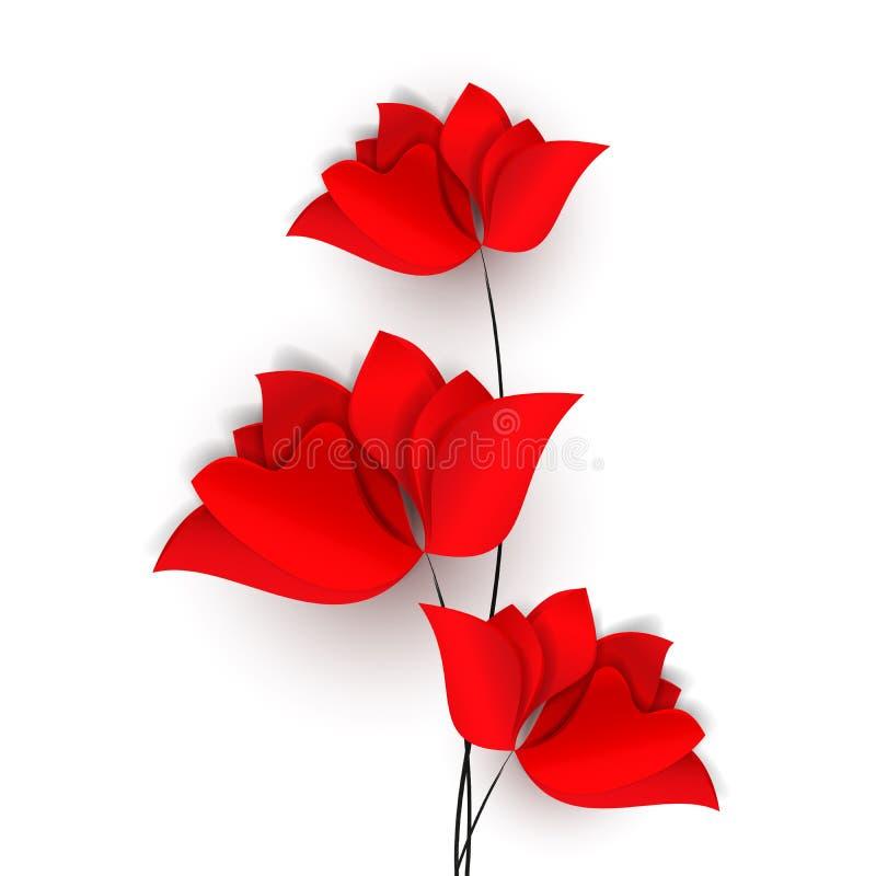 Tres flores, amapolas, tulipanes o rosas abstractos rojos El papel brillante de la primavera cortó la tarjeta o el papel pintado  libre illustration
