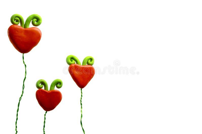 Tres flores del corazón fotos de archivo libres de regalías