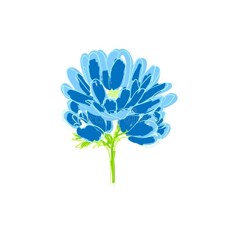 Tres flores hermosas del azul del jardín Una pequeña composición de primaveras azules stock de ilustración