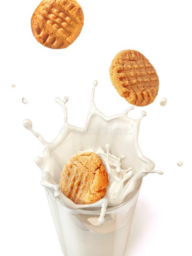 Tres galletas de las galletas que caen en una taza de cristal por completo de MI fresco imagen de archivo libre de regalías