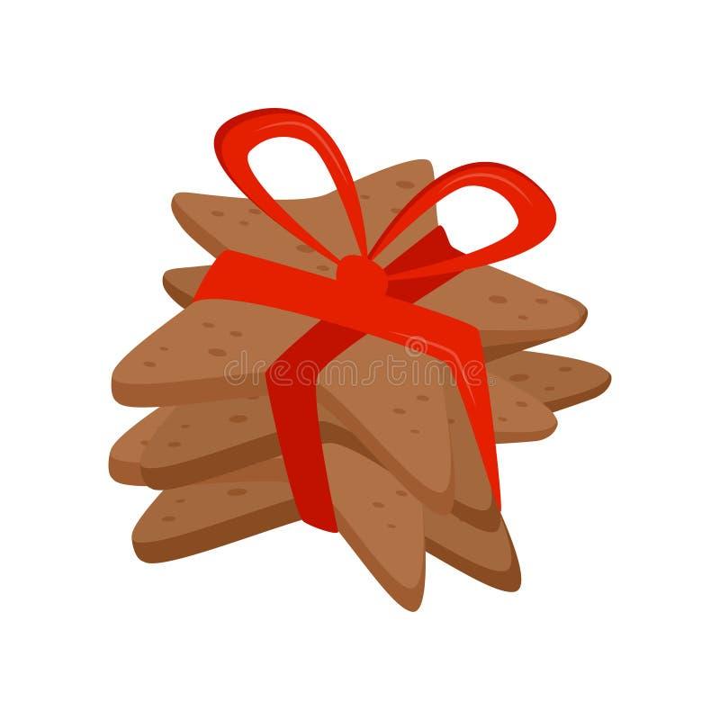 Tres galletas en la forma de la estrella atada con la cinta roja brillante Bocado del día de fiesta Comida de la Navidad Dulces d stock de ilustración