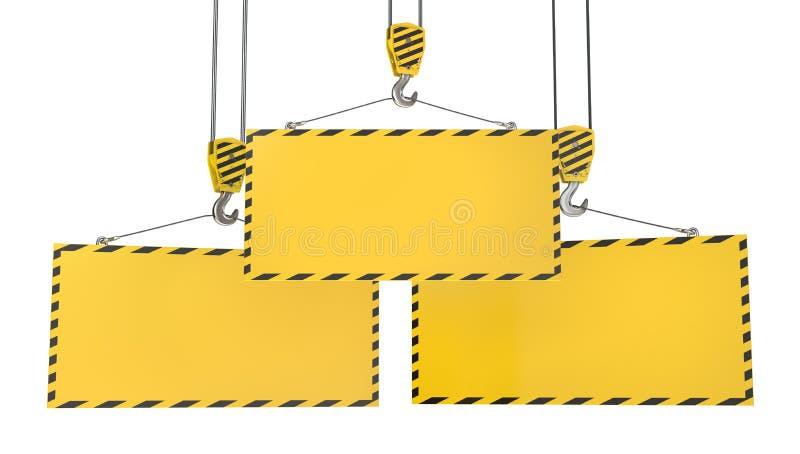 Tres ganchos de leva de la grúa con las placas amarillas en blanco stock de ilustración
