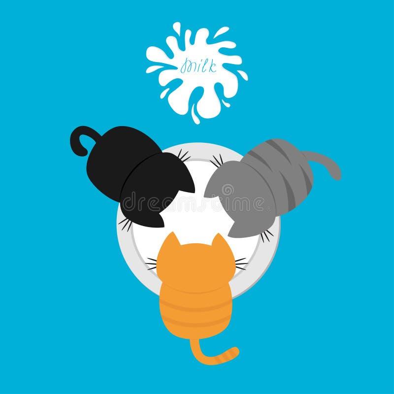 Tres gatitos que comen la leche de consumo del cuenco Mancha blanca /negra con el chapoteo Opinión superior del aire Alimentación stock de ilustración