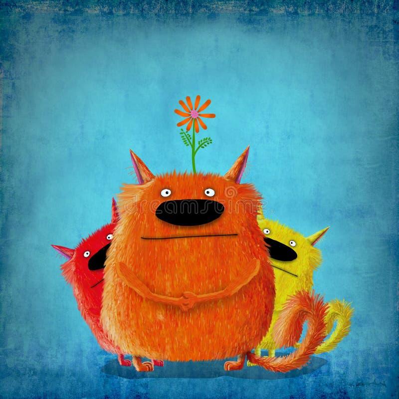 Tres gatos tontos con la flor libre illustration
