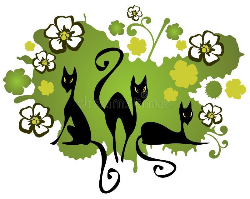 Tres gatos y flores libre illustration