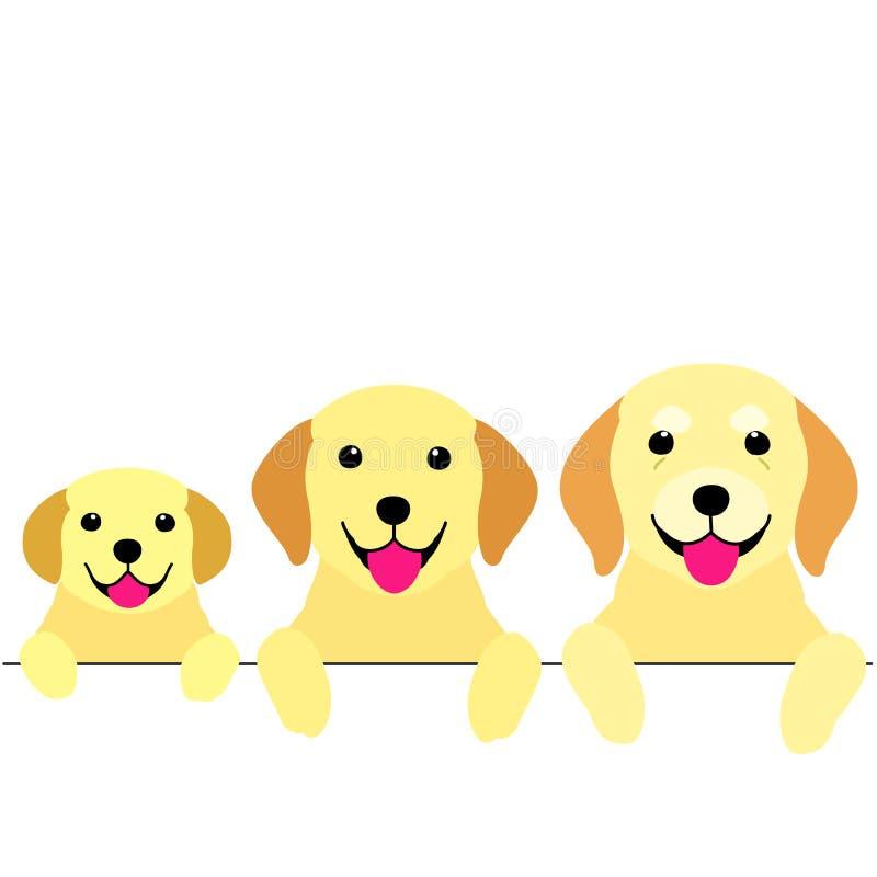 Tres generaciones de frontera de los perros stock de ilustración