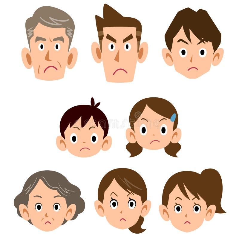 Tres generaciones de icono enojado de la cara de la familia ilustración del vector
