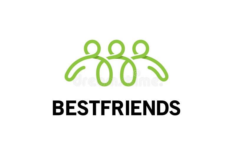 Tres gente abstracta verde creativa Team Characters Logo ilustración del vector