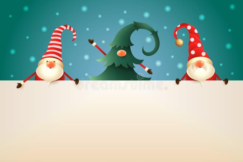 Tres gnomos de la Navidad con el letrero en fondo de la turquesa Uno ocultado en árbol de navidad stock de ilustración