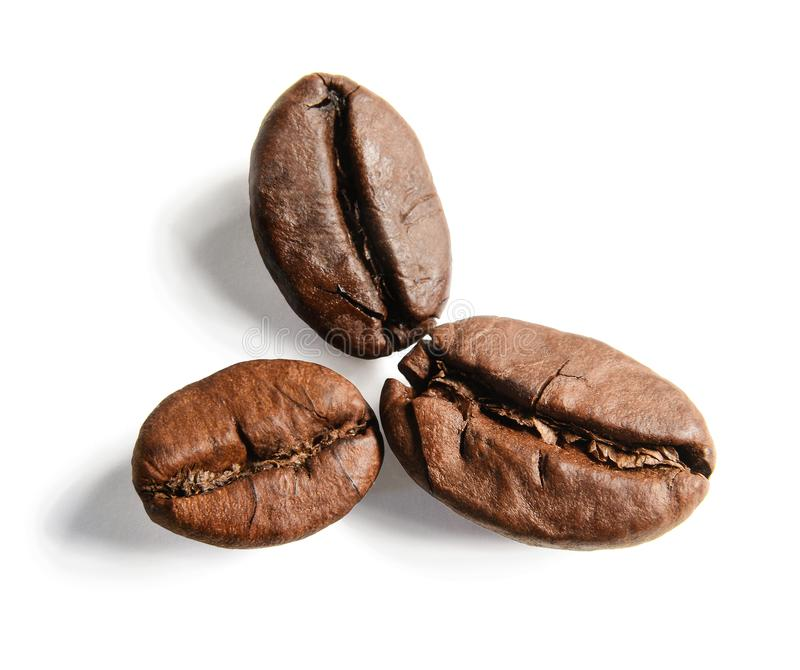 Tres granos de mentira del café como los pétalos de la flor Macro Fondo aislado blanco imágenes de archivo libres de regalías