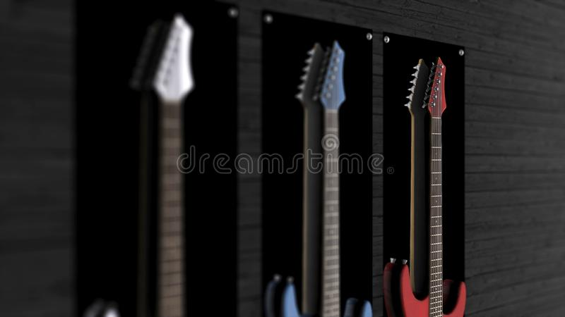 Tres guitarras eléctricas que cuelgan en una pared Animación de tres guitarras que cuelgan en la pared fotos de archivo