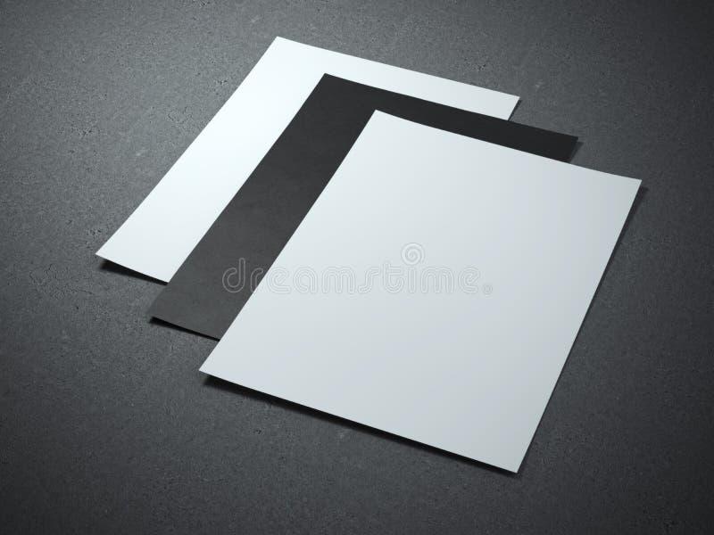 Tres hojas del papel en blanco ilustración del vector
