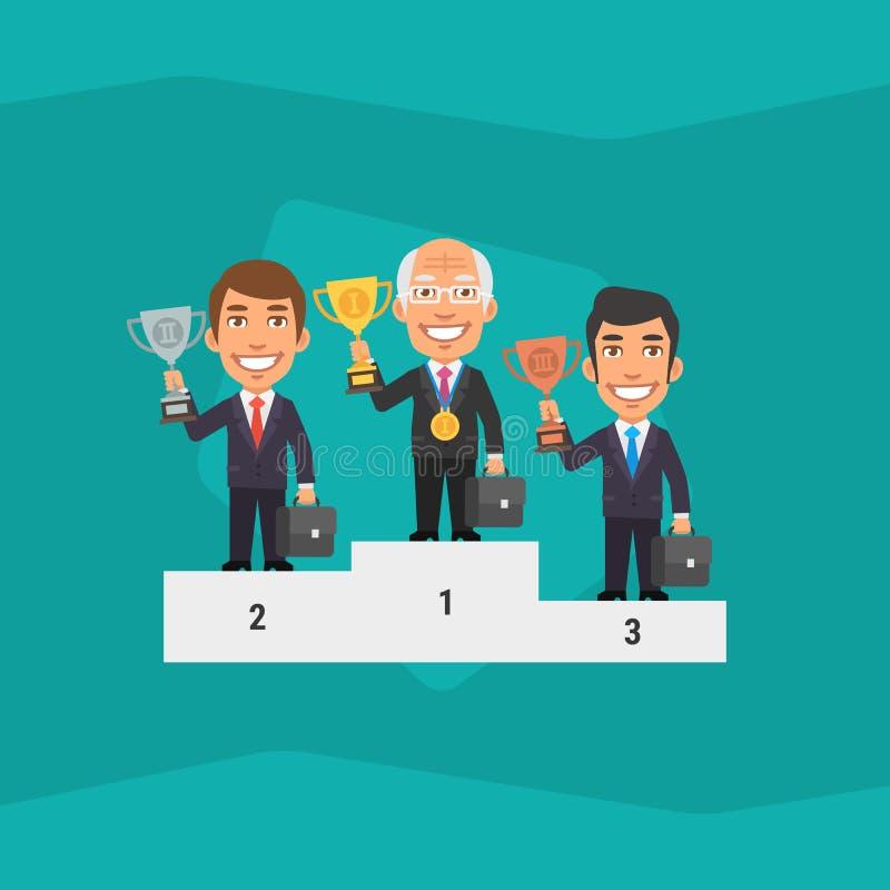 Tres hombre de negocios Standing en pedestal y la taza el sostenerse libre illustration