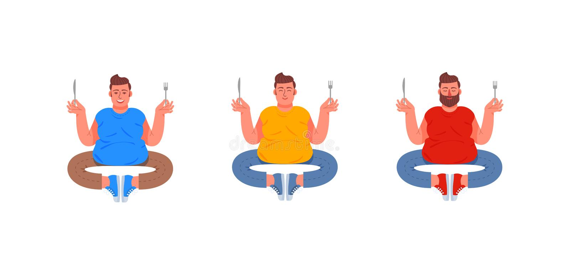 Tres hombres gordos se sientan en la posición de loto con una bifurcación y un cuchillo en sus manos Hombres gordos hambrientos I ilustración del vector