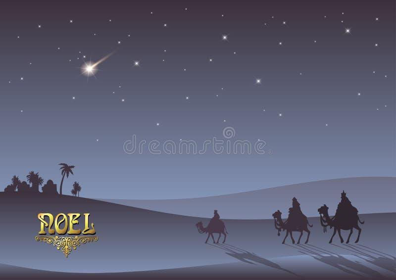 Tres hombres sabios están visitando a Jesus Christ después de su nacimiento ilustración del vector
