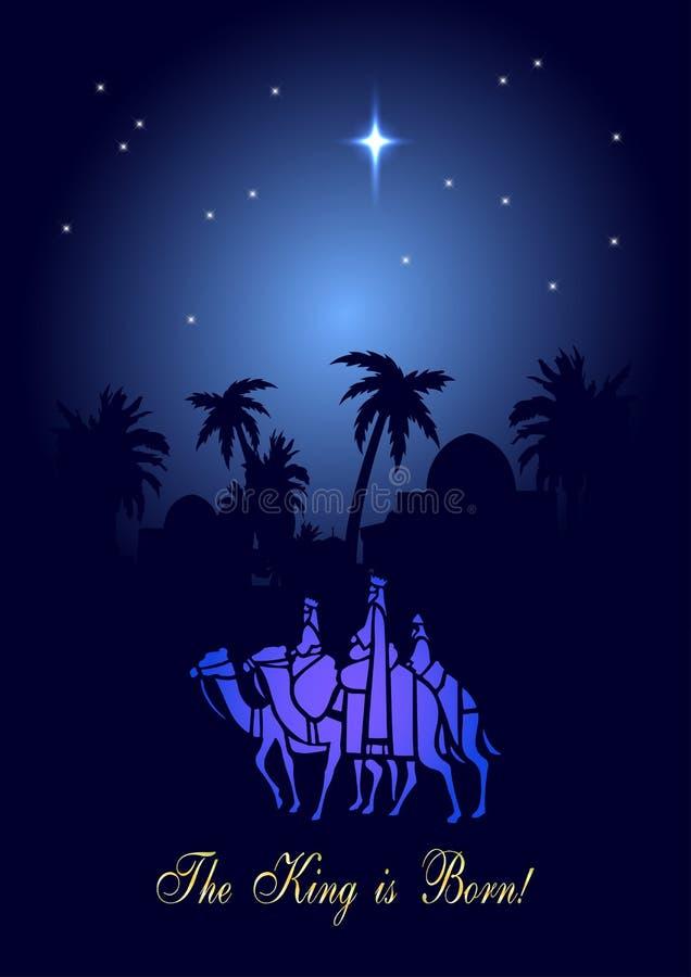Tres hombres sabios están visitando a Jesus Christ después de su nacimiento stock de ilustración