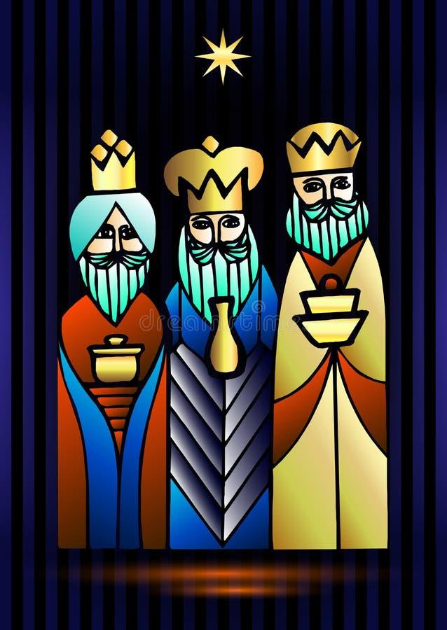 Tres hombres sabios están visitando a Jesus Christ después de su nacimiento libre illustration